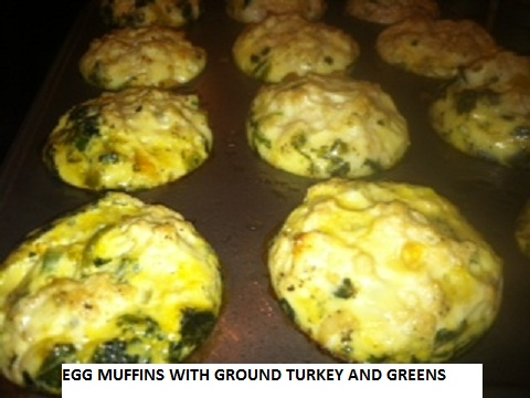 egg muffins with ground turkey and greens